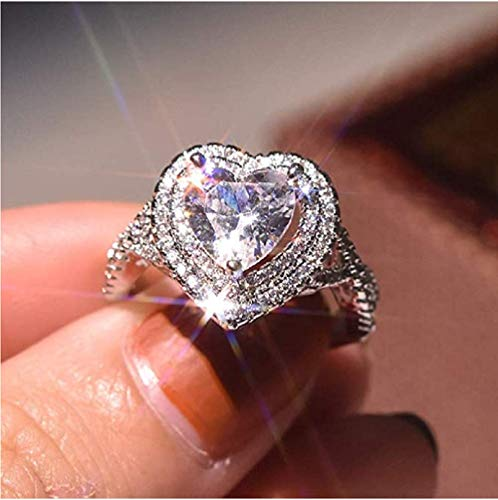High luxury jewellery fashion 925 sterling silver CZ ring micro inlaid multi-layer cute heart-shaped...