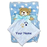Personalized Teddy Bear Baby Blanket Set - Matching Animal Character Snuggler Blankets with Custom Name