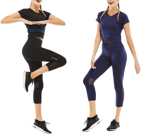 CrisKat Conjunto de Deporte Profesional de 2 Piezas Ropa Deportiva para Mujer Camiseta de Running de Manga Corta & Pantalones Pirata legings 3/4 con Bolsillo de Cintura Alta (L, Conjunto Negro2)