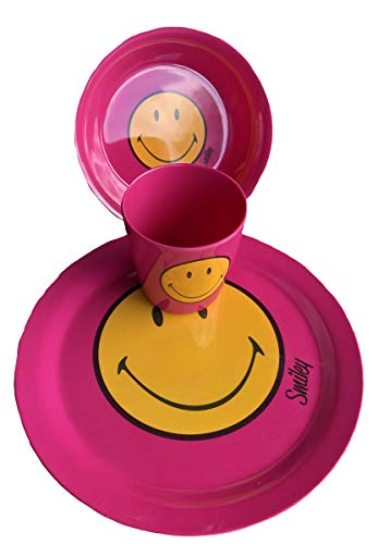 Zak Designs - Juego de 3 platos de melamina, color rosa