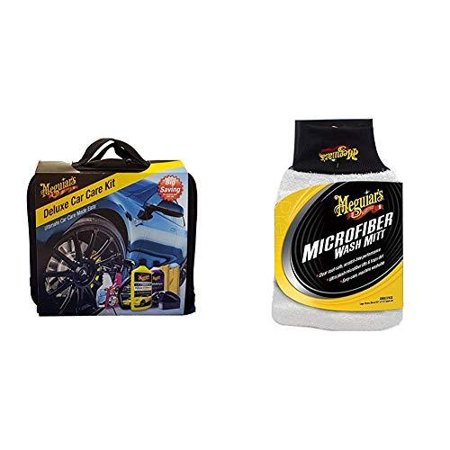 Meguiars DELKITEU Deluxe Car Care Kit Autopflegeset &  X3002EU Microfibre Wash Mitt Mikrofaser-Waschhandschuh