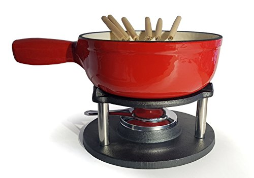 osoltus BBQ Gusseisen Fondue Käsefondue Emaille beschichtet rot