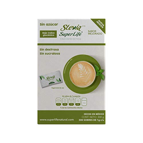 Stevia Super Life® Bio 300 Sobres, Sin azúcar