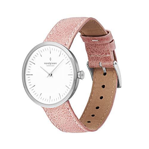 Nordgreen Infinity skandinavische Damenuhr in Silber mit weißem Ziffernblatt und austauschbarem 32mm Leder Armband Pink 10071