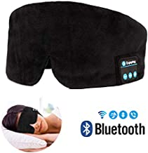Bluetooth Sleeping Eye Mask Headphones, Bluetooth Sleep Eye Shades, Wellerly Bluetooth V4.2 Wireless Eye Cover Built-in Speakers Microphone Adjustable Washable Travel Headsets for Men and Women- Black