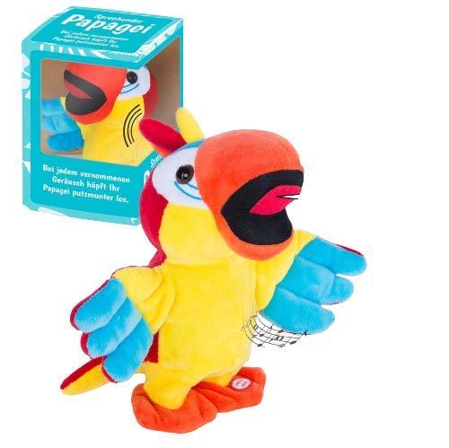 GOODS+GADGETS Tanzender & Sprechender Papagei Plüschtier Singendes Stofftier - Spricht nach, Spielt Melodie und flattert durch die Gegend