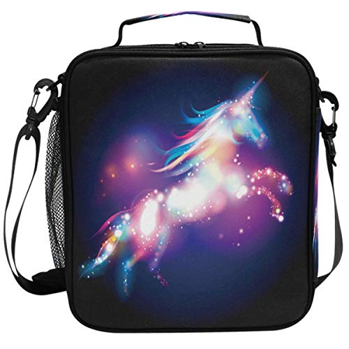 Wamika Unicorn Magic Design With Stars Lunch Box Insulated Lunch Bag Large Freezable Mermaid Unicorn Rainbow Galaxy Space Lunch Bag Tote Cooler Lunch Meal with Shoulder Strap