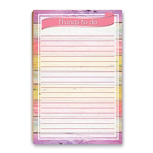 """Rustic Floral To Do List Notepad with Magnet - 8.5"""" x 5.5"""" - Grocery, Shopping, Daily Tasks List - Rustic Barnwood (Colorful Wood)"""