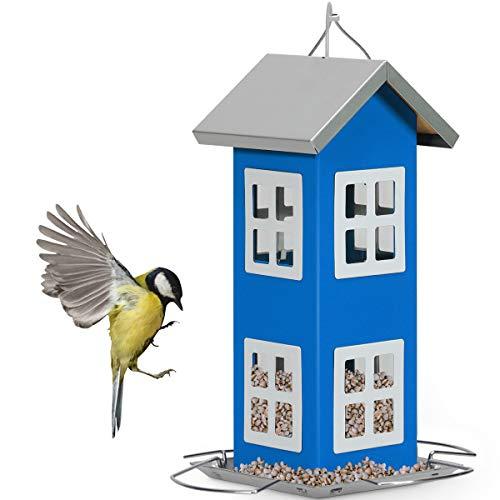 GOPLUS Vogelfutterhaus aus Eisen, Futterstation inkl. Aufhängseil, Nisthaus mit Futtertisch & Ständer für Vögel, Vogelhäuschen zum Hängen, Wetterschutz, für Balkon Garten Terrasse (Blau)