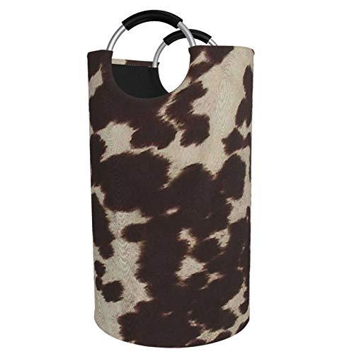 Sunmuchen Cesta para la colada con patrón de piel de vaca, impermeable, grande, organizador para ropa, juguetes, dormitorio, baño, con asas de aluminio