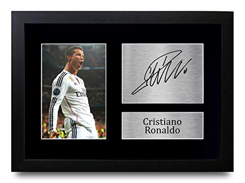 HWC Trading Cristiano Ronaldo A4 Enmarcado Regalo De Visualización De Fotos De Impresión De Imagen Impresa Autógrafo Firmado por Real Madrid Los Aficionados Al Fútbol