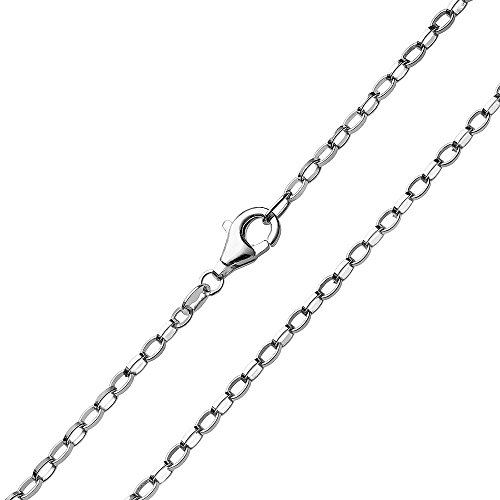 MATERIA 2mm Erbskette Silber 925 oval geschlagen Damen Herren Halskette rhodiniert + Box #K68, Länge Halskette:70 cm