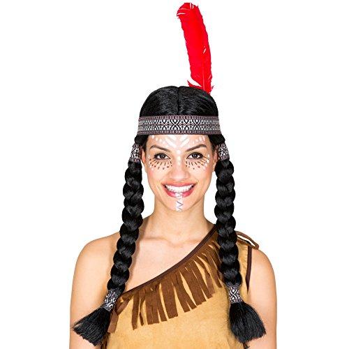 dressforfun Perücke mit Zwei geflochtenen Zöpfen | schwarz + Haarband mit Federn | Indianerin Squaw Fasching