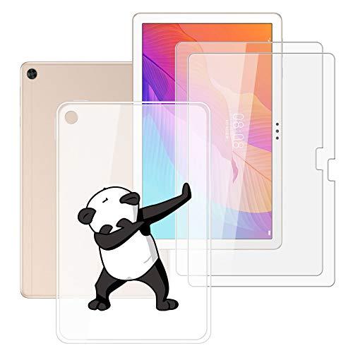 HHUAN Tableta Funda para Huawei Enjoy Tablet 2 10.1 Pulgadas con 2 Piezas Cristal Templado Protector de Pantalla, Semi-Transparent Soft Silicone Carcasa TPU Cover Case - Panda Fresco