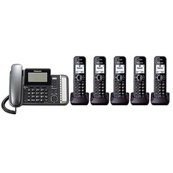 Panasonic KX-TG9582B + 3 KX-TGA950B Corded/Cordless Combination Telephone 2-Line DECT 6.0 System