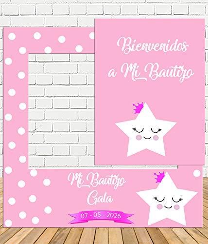 Photocall de Bautizo rosa niña 100x100cm| Detalles Bautizo | Photocall Económico y Original | Disfruta de unas divertidas fotos con nuestro photocall de bautizo para niñas| Personalizable …