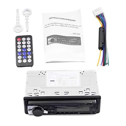 MagiDeal Auto Bluetooth Autoradio Radio Estéreo FM Receptor de Entrada Auxiliar SD USB