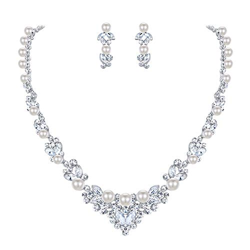 EVER FAITH Bridal Leaf Jewelry Set Clear Austrian Crystal Silver-Tone Simulated Pearl Ivory Color Cream