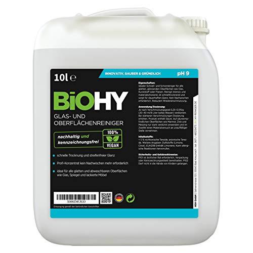 BIOHY Glas- und Oberflächenreiniger 10 Liter Kanister | ALKOHOLREINIGER Konzentrat | Universalreiniger | Intensiv & Nachhaltig reinigender Automatenreiniger | Profi Bio-Reiniger