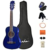 ADM Beginner Acoustic Classical Guitar 30 Inch Nylon Strings Wooden Guitar Bundle Kit for Kids Students with Carrying Bag & Accessories, Blue
