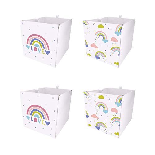 Debe Kallax - Juego de cajas de almacenamiento para habitación infantil, diseño de doble cara, 33 x 33 x 38 cm, plegable, caja para juguetes, 2 y 4 unidades