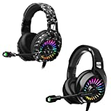 ZIUMIER Z20 Gaming Headset for PS4, PS5, Xbox One, PC, Wired Over-Ear Headphone with Noise Isolation Microphone, RGB Flowing LED Light