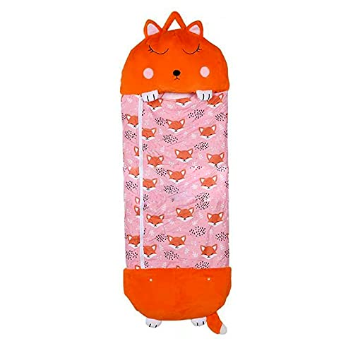 G/N Saco de Dormir Niños, Happy Nappers Plegable 2 En 1 Saco de Dormir y Almohada para Niños, Suave Cálido Saco de Dormir para Bebé 4-10 Años-E||135x50cm