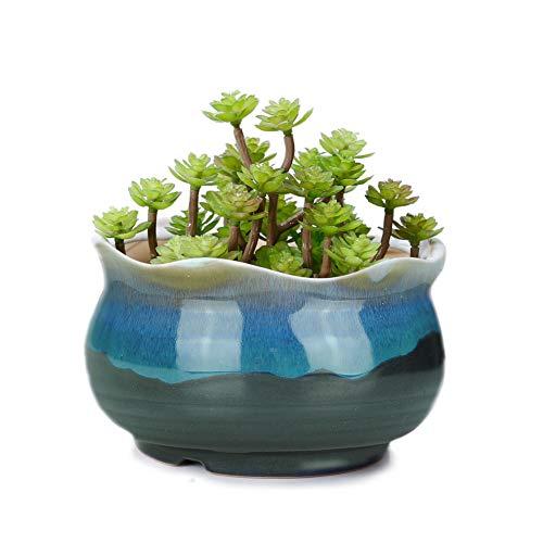 VanEnjoy 5' Large Ceramic Succulent Pot, Multicolor Colorful Flowing Glazed, Indoor Home Décor Cactus Flower Bonsai Pot Planter Container, Candle Holder Ring Bowl (Blue A)