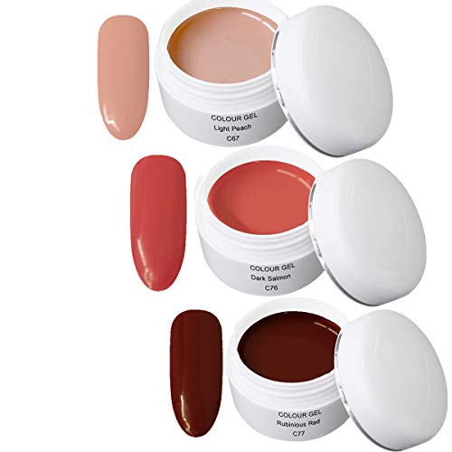 Gel UV Coloré Set V - Nail Art Set 3 x 5ml - 1x 5ml UV Colour Gel C067 Light Peach 1x 5ml UV Colour Gel C076 Dark Salmon 1x 5ml UV Colour Gel C077 Rubinious Red