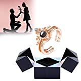 Creative Ring and Puzzle Jewelry Box, I Love You Projection Ring in 100 Languages, Magic Cube Ring Box, Puzzle Rotating Jewelry Gift Box for Valentine's Day/Birthday/Friend (Gold)