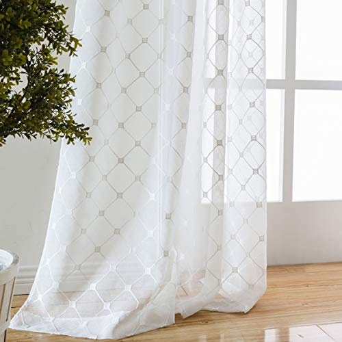 Taisier Home Off White Sheer Curtains Embroidered Trellis Design Floral Embroidered Geometric Lattice Faux Linen Draperies for Living Room (W52 x L95 Inches, 2 Panels)