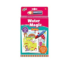 Chunky spiral book with 6 reusable picture boards and water pen Water pen makes coloured pictures magically appear Pictures then disappear so may be used over and over again Ideal travel toy with mess-free colouring Suitable for age 3 years and up