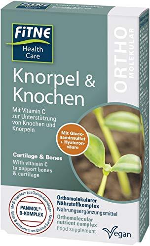 FITNE Knorpel & Knochen, Orthomolekularer Nährstoffkomplex mit pflanzlichem Glucosaminsulfat, Hyaluronsäure und Vitamin C zur Unterstützung von Knochen und Knorpeln (60 Kapseln)