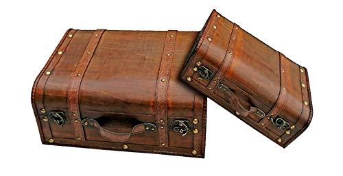 Unbekannt VARILANDO® Deko-Koffer im Vintage-Look in Zwei bezaubernden Varianten Nostalgie-Dekoration Deko-Kofferset (Set 1)