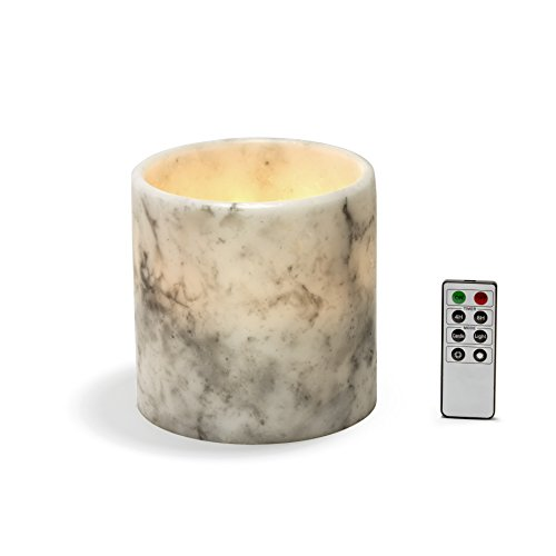 Large Marble Flameless Candle - 6 Inch Tall Pillar Candle, Black and White Marbled Wax, Warm White Flickering LED, Battery Operated, Remote & Timer Included, Valentine