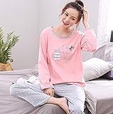 DFDLNL Conjunto de salón de Gato de Manga Larga, Ropa de hogar de Ocio, Pijama de promoción, Pijama con Cuello Redondo, Conjuntos de Pijama para Mujer, Ropa de Dormir de algodón Completo M