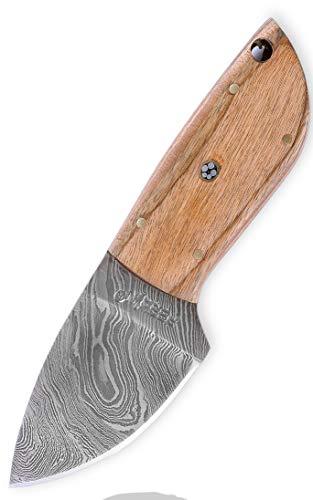 Custom Damast Messer Jagdmesser Mit Lederscheide - Kürschnermesser