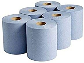 6 x Blue Paper Rolls - 2 Ply Embossed Centre Feed - Hand Towel Tissue Rolls