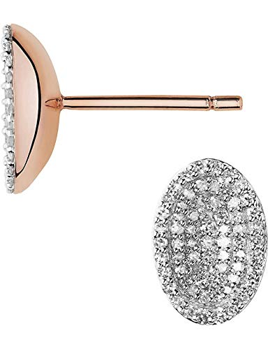 LINKS OF LONDON Concave Rose Gold Vermeil Pave Diamond Oval Earrings RRP690 NEW
