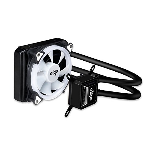 Liquid CPU Cooler, Aigo All-in-One Water Cooling System High Performance Adjustable 120mm PWM Fan with White LED Light for Intel/AMD, AM4 Available