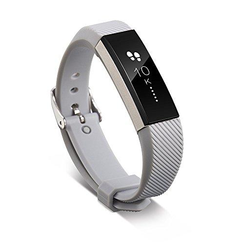 Pinhen, cinturino di ricambio in silicone per Smart Watch da polso Fitbit Alta, protezione unica e completa, accessorio per il fitness, Alta, Grey, L
