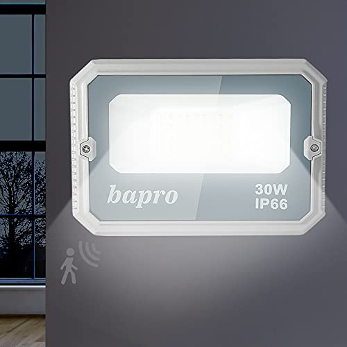 30W Foco LED Exterior con Radar Sensor, bapro 3000LM LED Floodlight IP66 Impermeable Proyector para Foco con Movimiento Detector, Reflector LED 6000K Blanco Frio Iluminación Seguridad Exterior