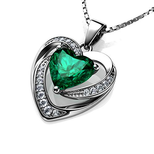 DEPHINI - Green Heart Necklace - 925 Sterling Silver - Peridot Birthstone Embellished with Branded Crystal Pendant - Fine Jewellery Woman Necklace 18' Rhodium Plated Silver Chain - Cubic Zirconia