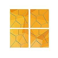 ミラーステッカー4個/セットアクリルモダンウォールミラーステッカーDIYデカール壁画家の装飾家の装飾のため (Size:20x20x0.1cm; Color:Gold)