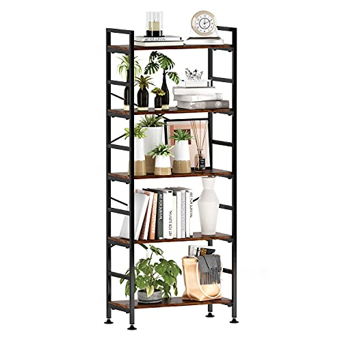 5-Tier Adjustable Tall Bookcase, Rustic Wood and Metal Standing Bookshelf, Industrial Vintage Book Shelf Unit, Open Back Modern Office Bookcases