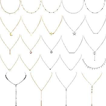 Yaomiao 24 Pieces Layered Necklace Multilayer Choker Necklace Tiered Chokers Necklace Charm Pendant Necklace for Women Girls  Gold and Silver