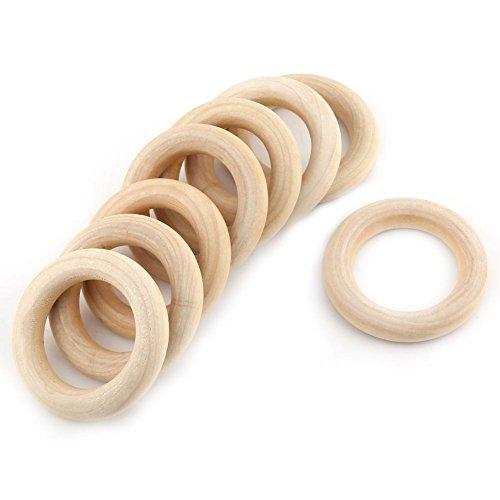 Natur Holzring, 20 Stück 55mm / 2.1inch Holz Beißringe Kreis, Hölzerne für DIY Holzringe, Holzringe zum Basteln, Unfinished Runde Holzverbinder