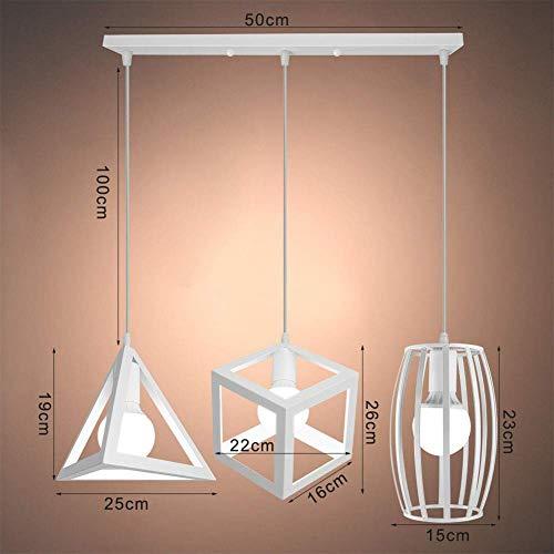 PXY Industriële hanger met 3 lampen in industriële en tegoedbonnen, 3 groentesoorten van metaaldraad, vintage kooi om op te hangen, plafondlamp, voor keuken, IJsland eettafel