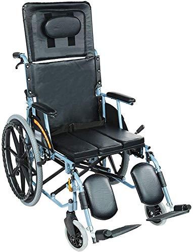 RSTJ-Sjef Attendant Fahrender Rollstuhl, Aluminium Rollstuhl, Leichte Und Faltbare Rahmen, Beweglicher Transit Travel Stuhl, Removable Fußrasten, Sitzbreite: 46 cm