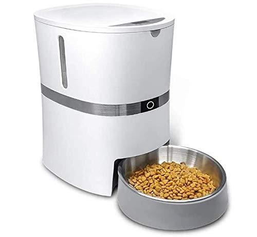 HoneyGuaridan 自動給餌器 猫 中小型犬用-サポート、4L容量 給餌量コントロール可能、録音可 - 1日6食 2WAY給電 定時定量 清潔便利-ステンレススチールペットフードお椀付き